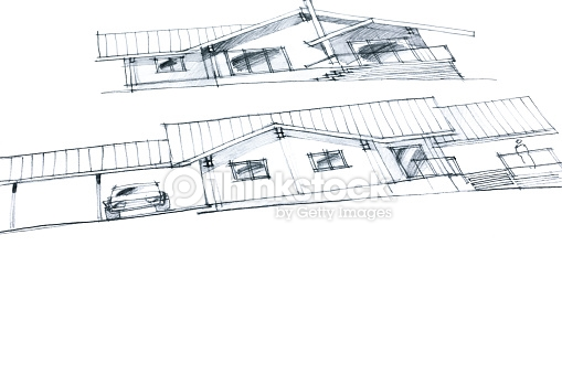 workplace of an architect with crayon pictures of a house plan variation